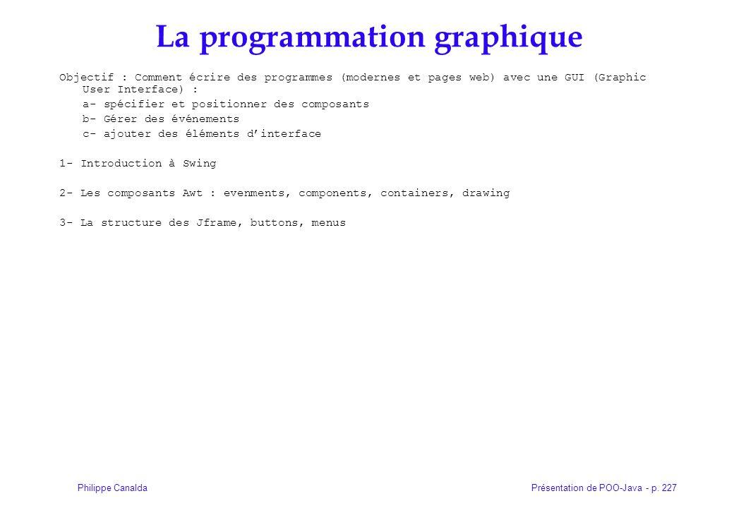 Présentation de POO-Java - p. 227Philippe Canalda La programmation graphique Objectif : Comment écrire des programmes (modernes et pages web) avec une