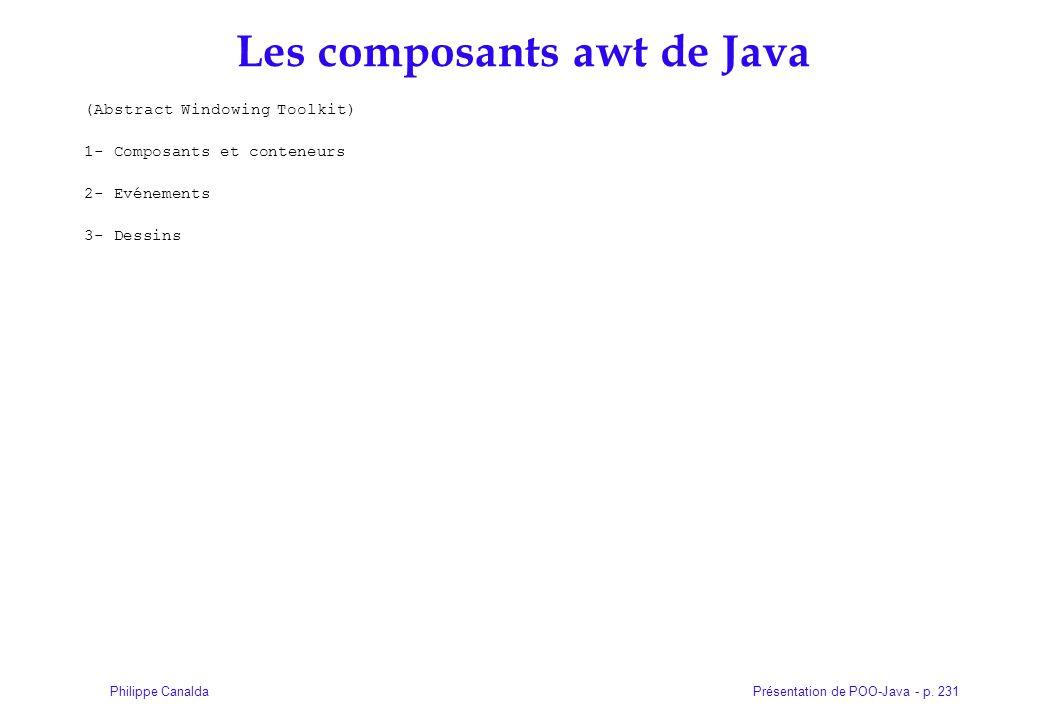 Présentation de POO-Java - p. 231Philippe Canalda Les composants awt de Java (Abstract Windowing Toolkit) 1- Composants et conteneurs 2- Evénements 3-