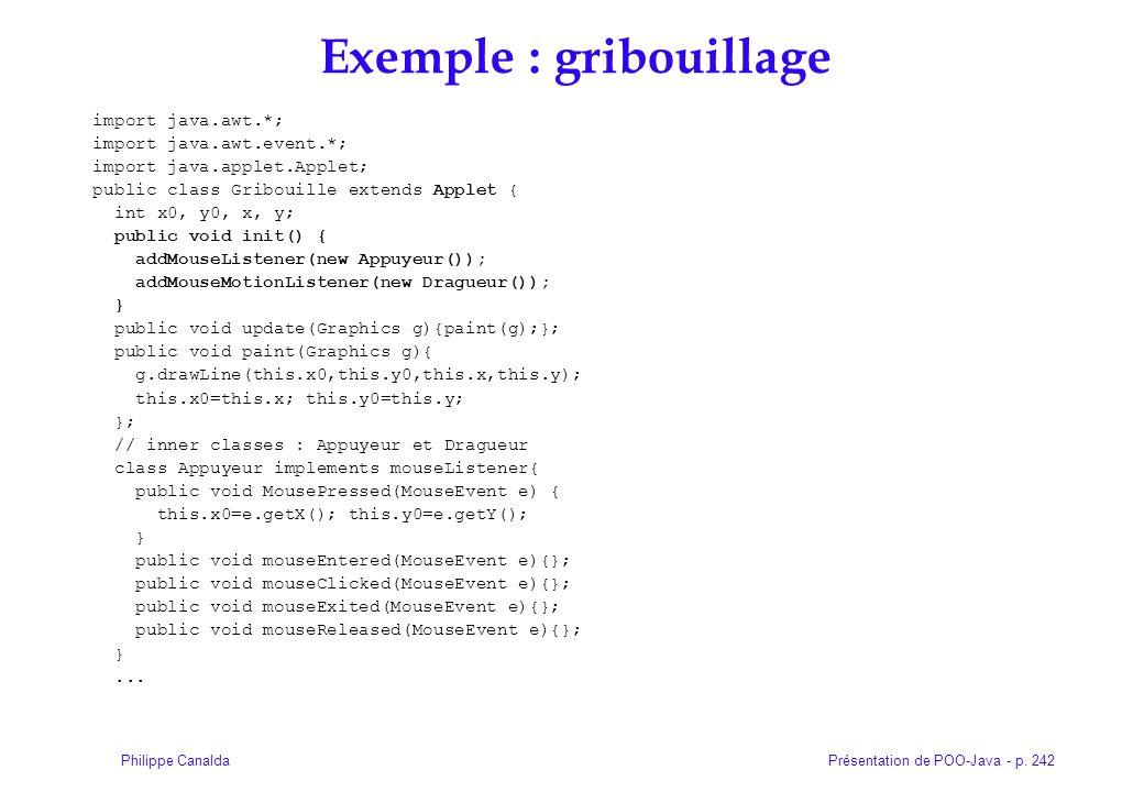 Présentation de POO-Java - p. 242Philippe Canalda Exemple : gribouillage import java.awt.*; import java.awt.event.*; import java.applet.Applet; public