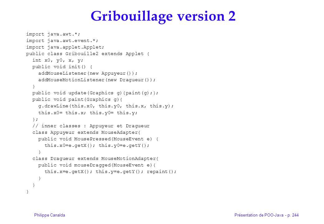 Présentation de POO-Java - p. 244Philippe Canalda Gribouillage version 2 import java.awt.*; import java.awt.event.*; import java.applet.Applet; public