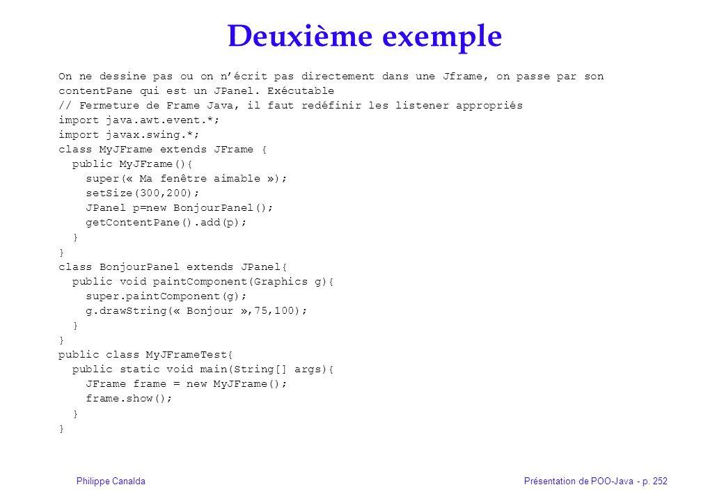 Présentation de POO-Java - p. 252Philippe Canalda Deuxième exemple On ne dessine pas ou on nécrit pas directement dans une Jframe, on passe par son co