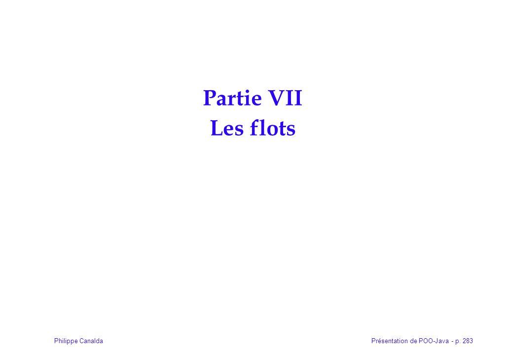 Présentation de POO-Java - p. 283Philippe Canalda Partie VII Les flots