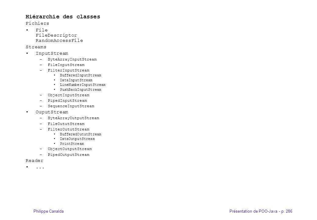 Présentation de POO-Java - p. 286Philippe Canalda Hiérarchie des classes Fichiers File FileDescriptor RandomAccessFile Streams InputStream –ByteArrayI