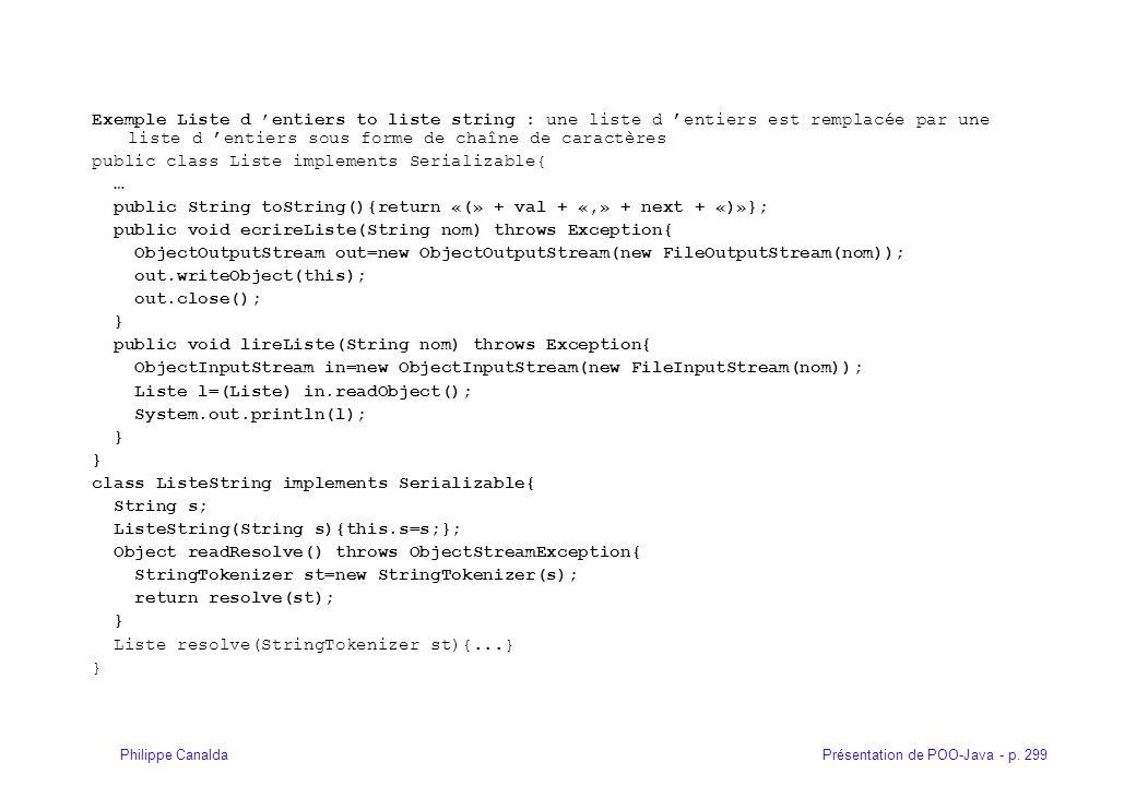 Présentation de POO-Java - p. 299Philippe Canalda Exemple Liste d entiers to liste string : une liste d entiers est remplacée par une liste d entiers