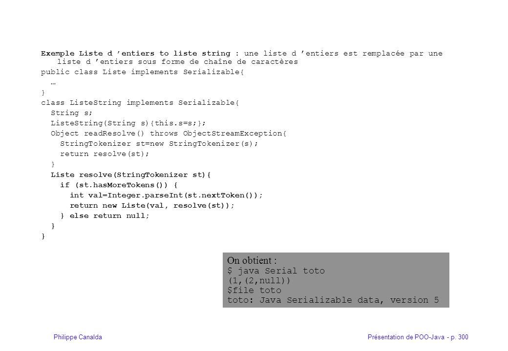 Présentation de POO-Java - p. 300Philippe Canalda Exemple Liste d entiers to liste string : une liste d entiers est remplacée par une liste d entiers