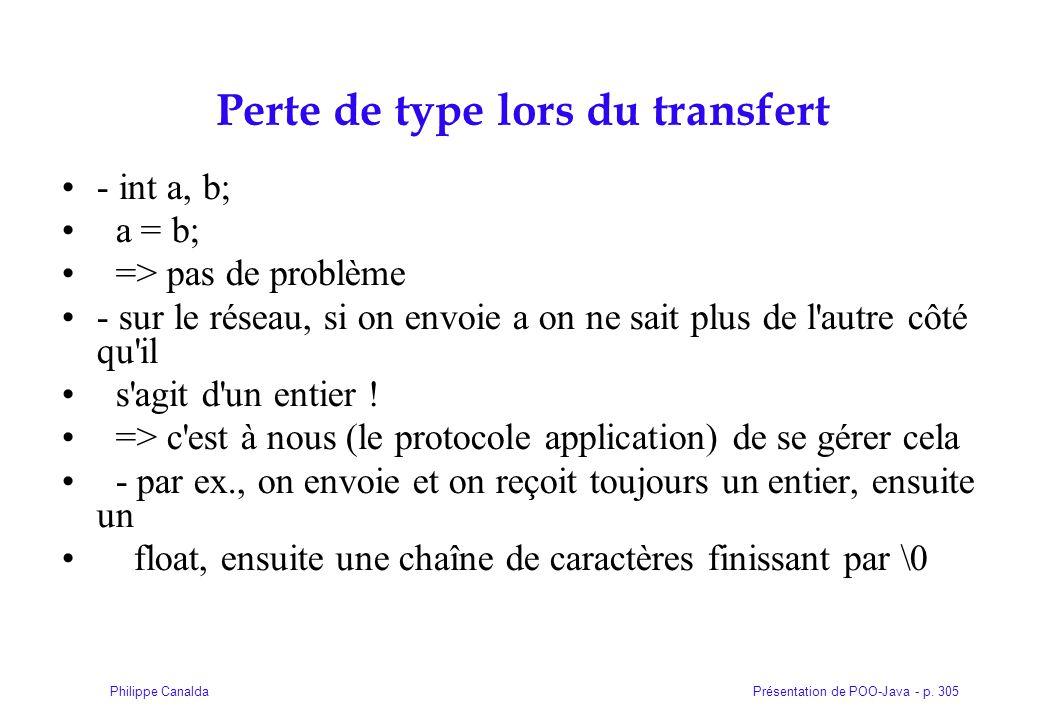 Présentation de POO-Java - p. 305Philippe Canalda Perte de type lors du transfert - int a, b; a = b; => pas de problème - sur le réseau, si on envoie