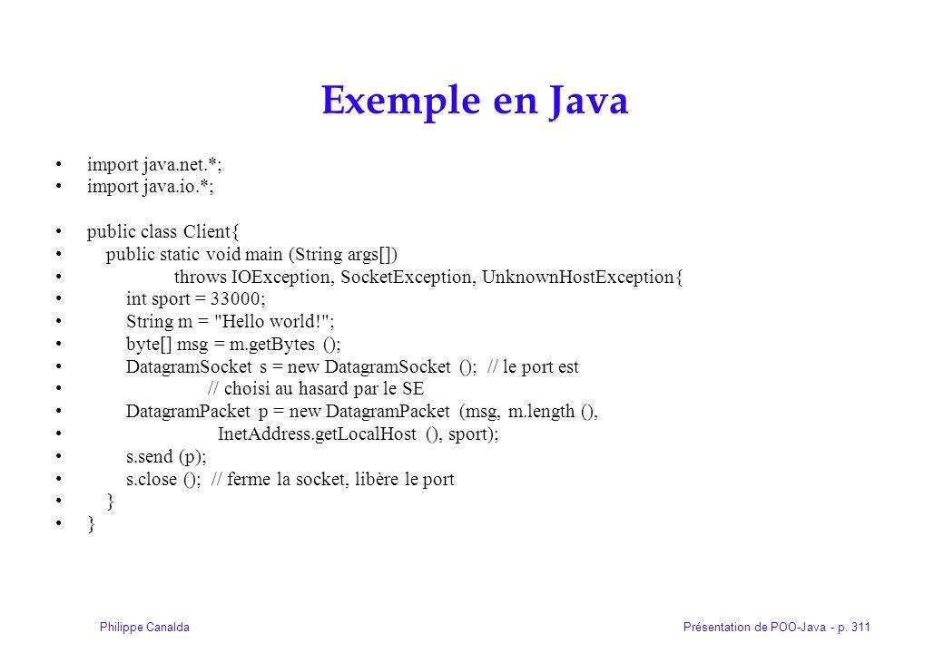 Présentation de POO-Java - p. 311Philippe Canalda Exemple en Java import java.net.*; import java.io.*; public class Client{ public static void main (S