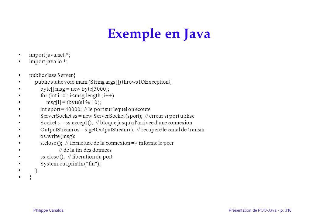 Présentation de POO-Java - p. 316Philippe Canalda Exemple en Java import java.net.*; import java.io.*; public class Server{ public static void main (S