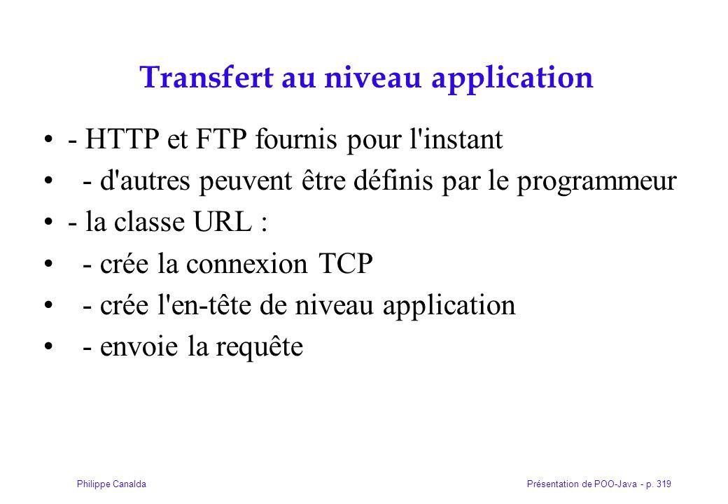 Présentation de POO-Java - p. 319Philippe Canalda Transfert au niveau application - HTTP et FTP fournis pour l'instant - d'autres peuvent être définis