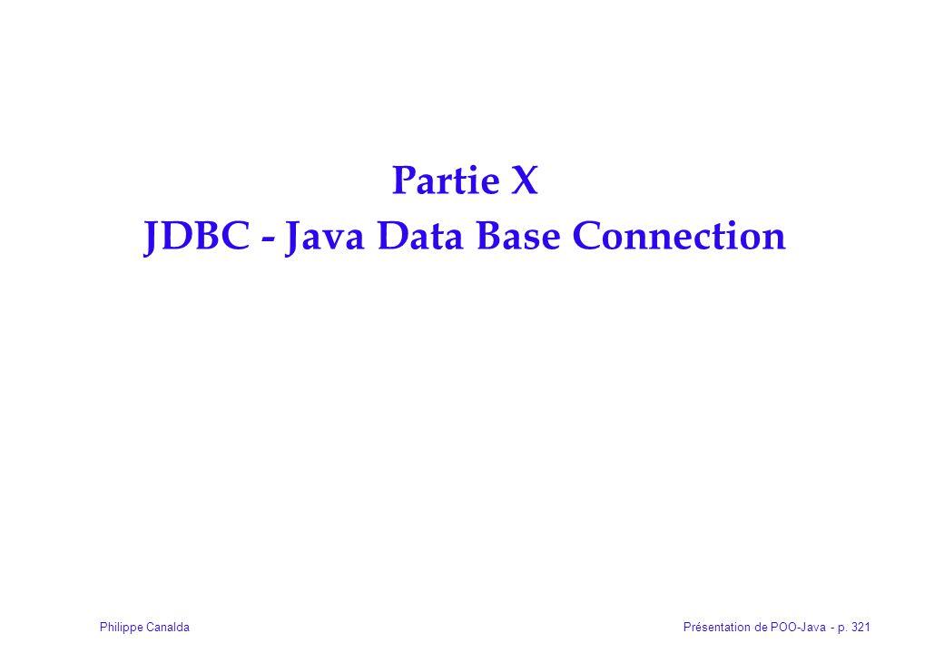 Présentation de POO-Java - p. 321Philippe Canalda Partie X JDBC - Java Data Base Connection