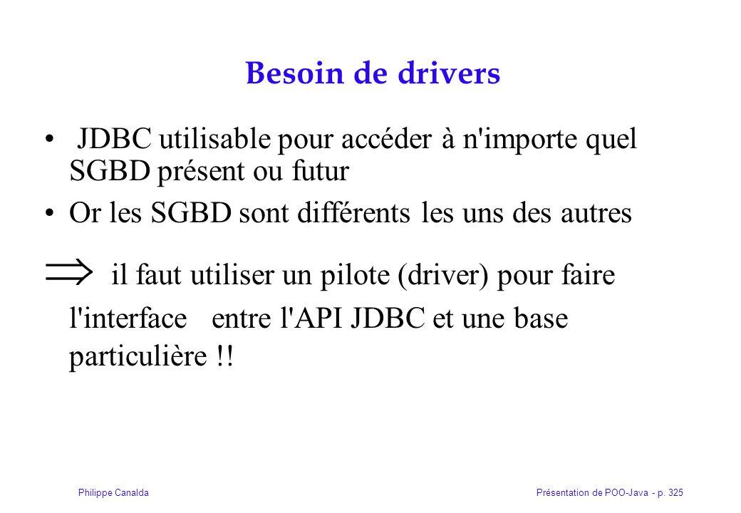 Présentation de POO-Java - p. 325Philippe Canalda Besoin de drivers JDBC utilisable pour accéder à n'importe quel SGBD présent ou futur Or les SGBD so