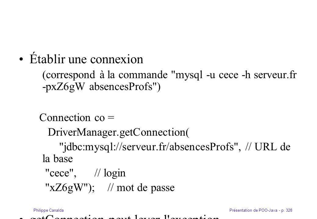 Présentation de POO-Java - p. 328Philippe Canalda Établir une connexion (correspond à la commande