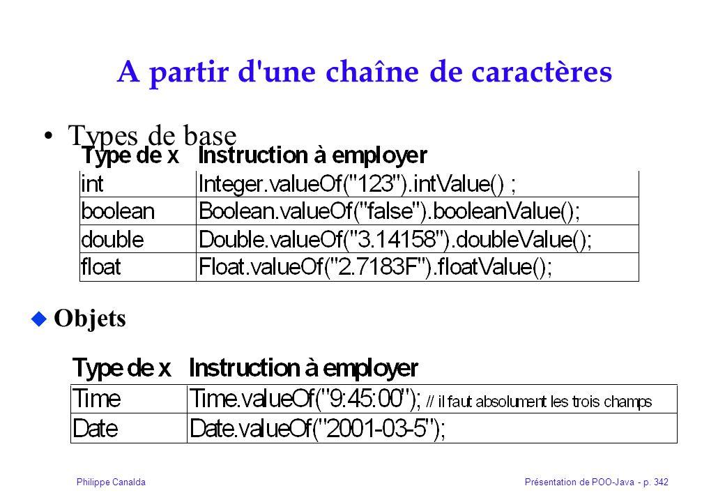 Présentation de POO-Java - p. 342Philippe Canalda A partir d'une chaîne de caractères Types de base Objets