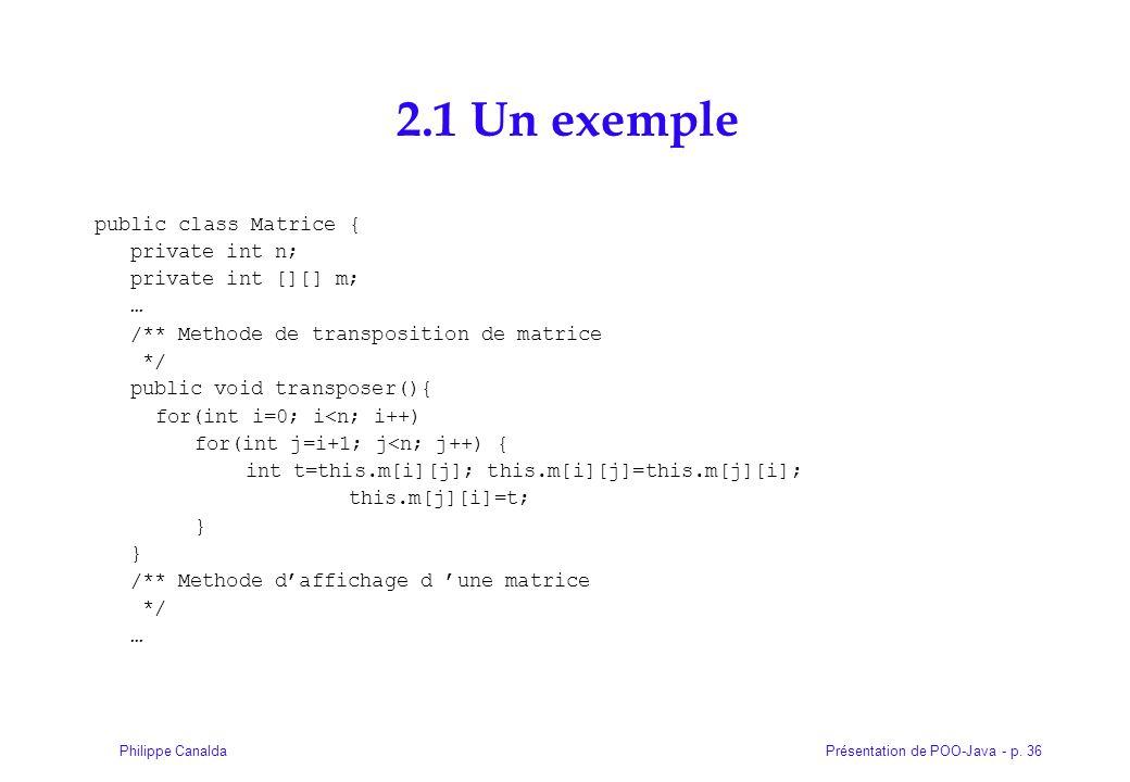 Présentation de POO-Java - p. 36Philippe Canalda 2.1 Un exemple public class Matrice { private int n; private int [][] m; … /** Methode de transpositi