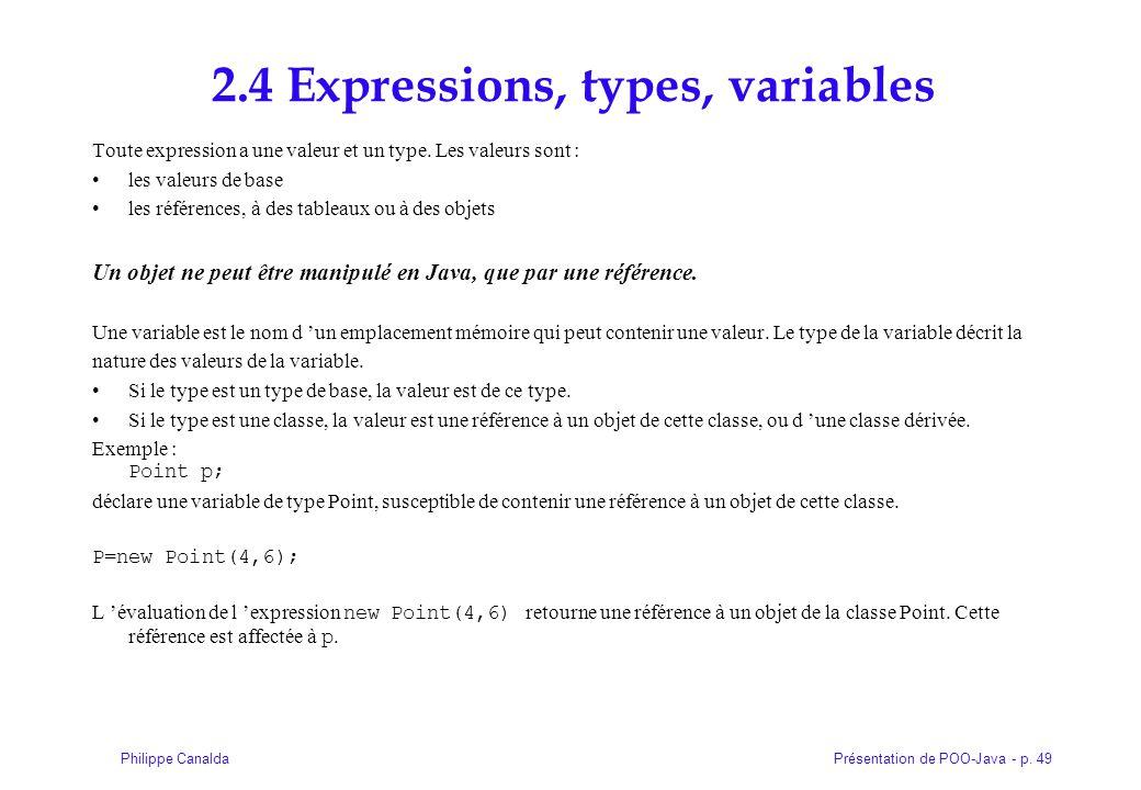 Présentation de POO-Java - p. 49Philippe Canalda 2.4 Expressions, types, variables Toute expression a une valeur et un type. Les valeurs sont : les va