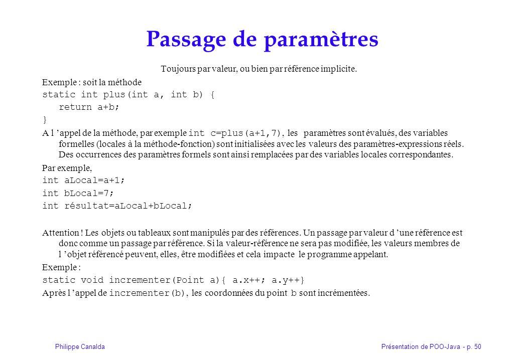Présentation de POO-Java - p. 50Philippe Canalda Passage de paramètres Toujours par valeur, ou bien par référence implicite. Exemple : soit la méthode
