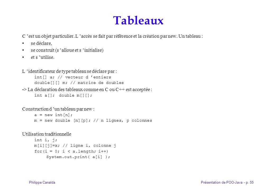Présentation de POO-Java - p. 55Philippe Canalda Tableaux C est un objet particulier. L accès se fait par référence et la création par new. Un tableau