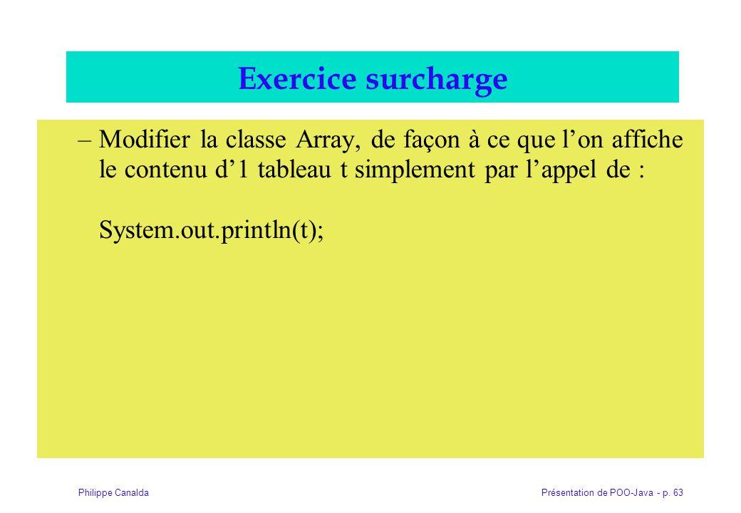 Présentation de POO-Java - p. 63Philippe Canalda Exercice surcharge –Modifier la classe Array, de façon à ce que lon affiche le contenu d1 tableau t s