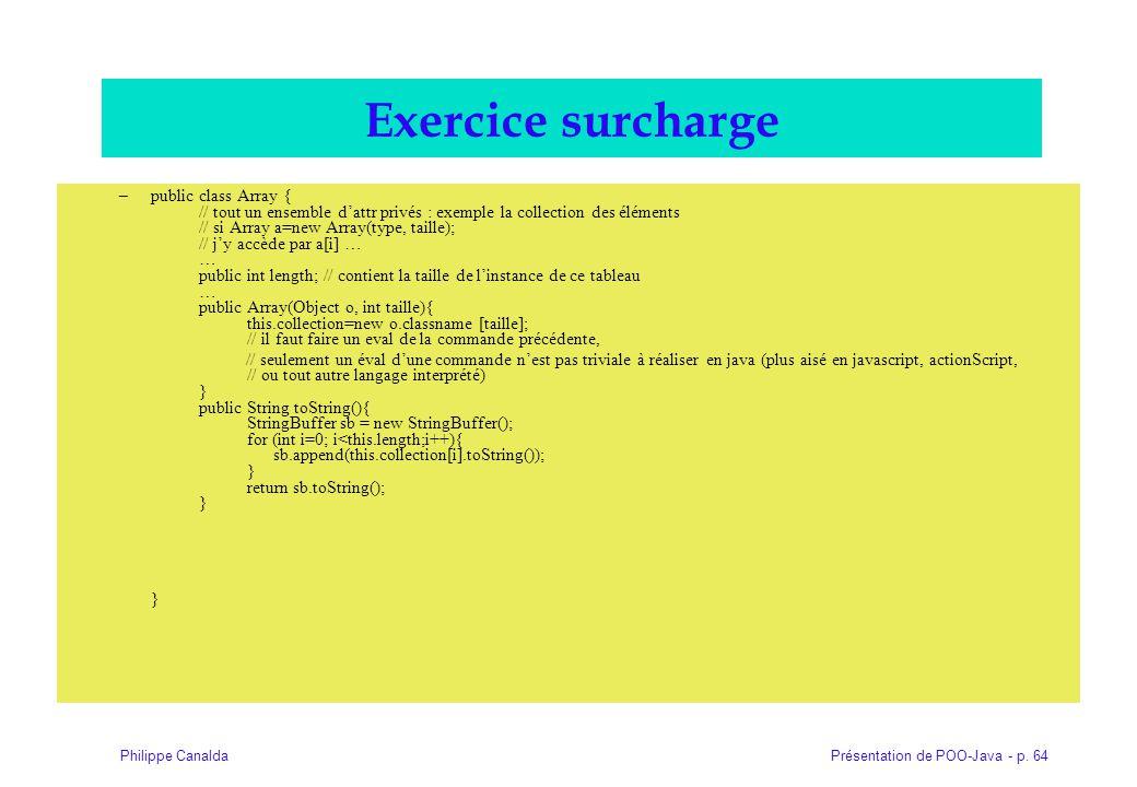 Présentation de POO-Java - p. 64Philippe Canalda Exercice surcharge –public class Array { // tout un ensemble dattr privés : exemple la collection des