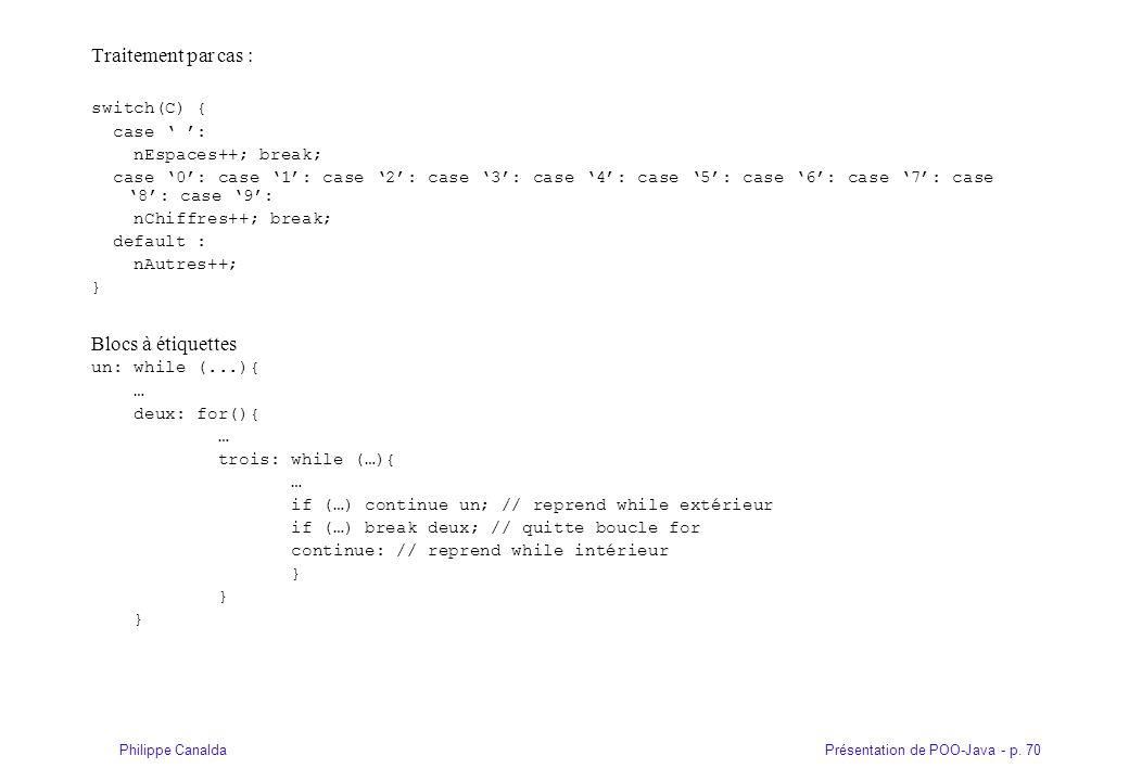 Présentation de POO-Java - p. 70Philippe Canalda Traitement par cas : switch(C) { case : nEspaces++; break; case 0: case 1: case 2: case 3: case 4: ca