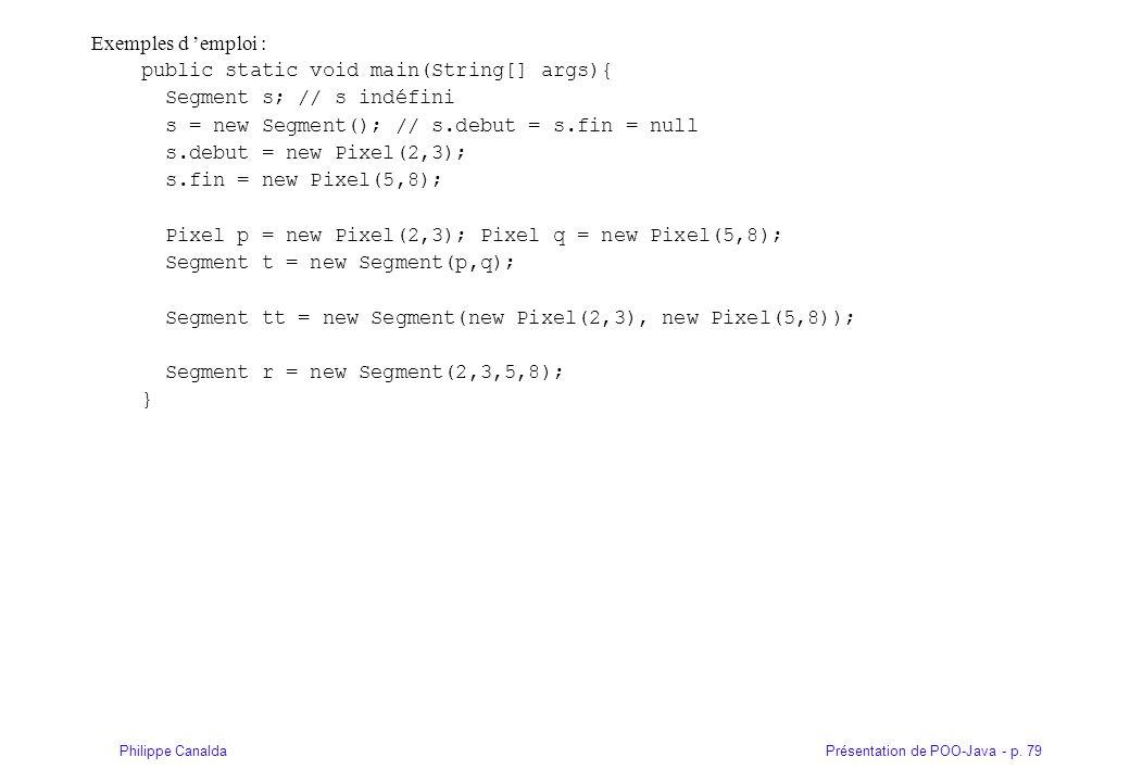 Présentation de POO-Java - p. 79Philippe Canalda Exemples d emploi : public static void main(String[] args){ Segment s; // s indéfini s = new Segment(