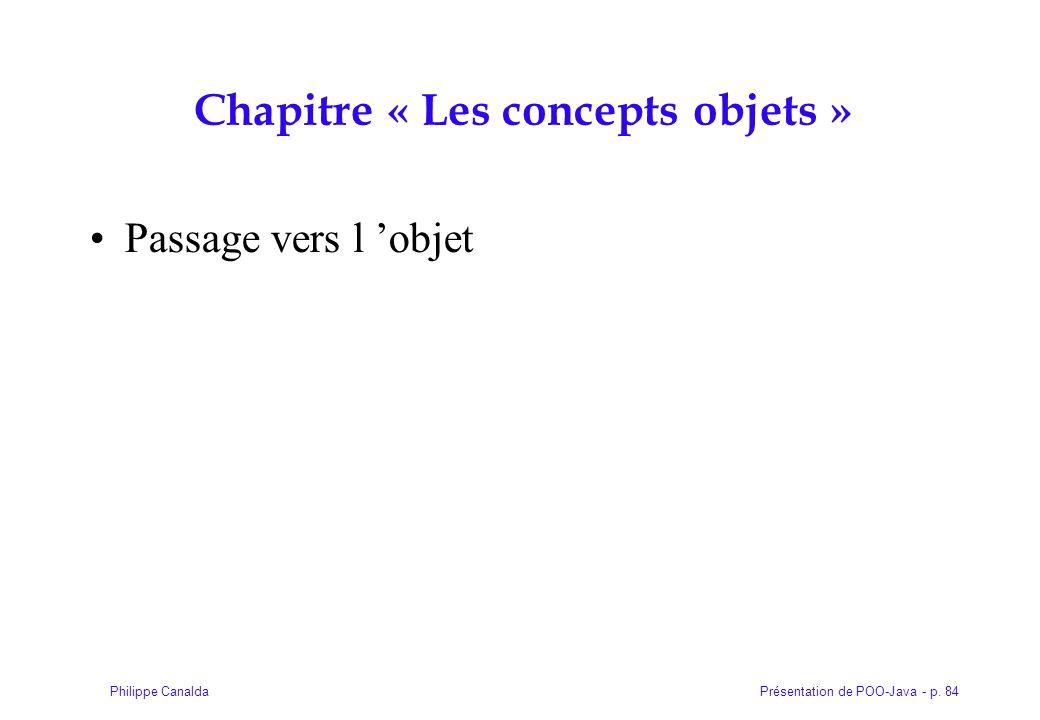 Présentation de POO-Java - p. 84Philippe Canalda Chapitre « Les concepts objets » Passage vers l objet