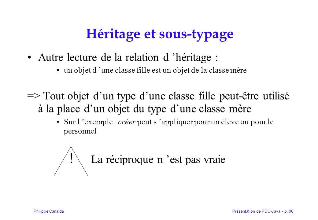 Présentation de POO-Java - p. 96Philippe Canalda Héritage et sous-typage Autre lecture de la relation d héritage : un objet d une classe fille est un
