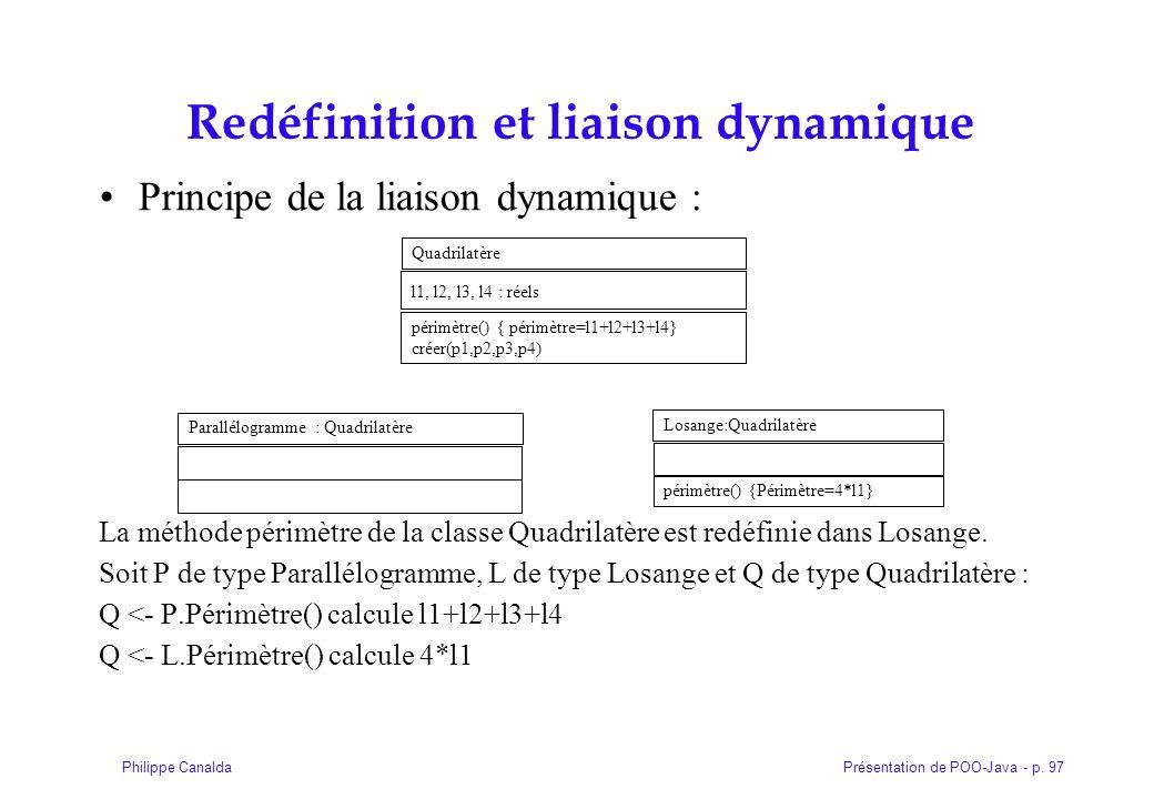Présentation de POO-Java - p. 97Philippe Canalda Redéfinition et liaison dynamique Principe de la liaison dynamique : La méthode périmètre de la class