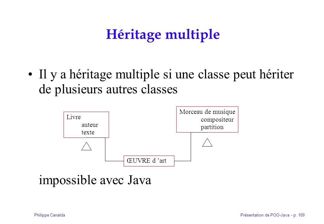 Présentation de POO-Java - p. 109Philippe Canalda Héritage multiple Il y a héritage multiple si une classe peut hériter de plusieurs autres classes im
