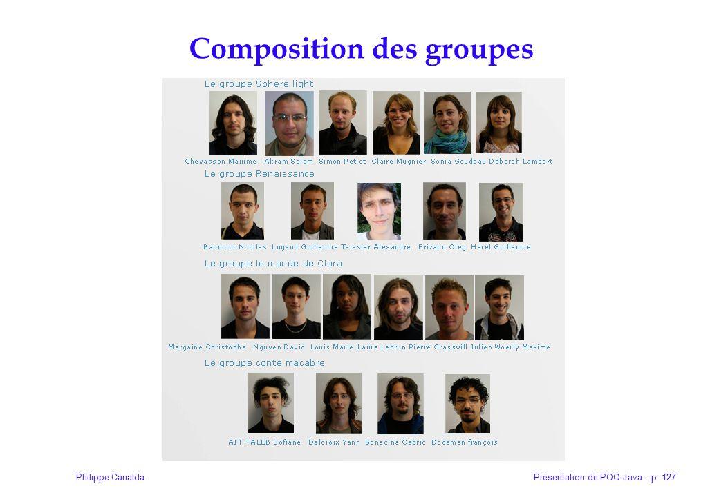 Présentation de POO-Java - p. 127Philippe Canalda Composition des groupes