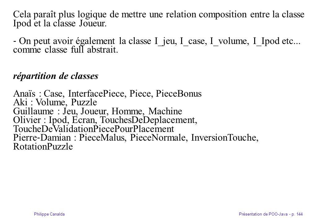 Présentation de POO-Java - p. 144Philippe Canalda Cela paraît plus logique de mettre une relation composition entre la classe Ipod et la classe Joueur