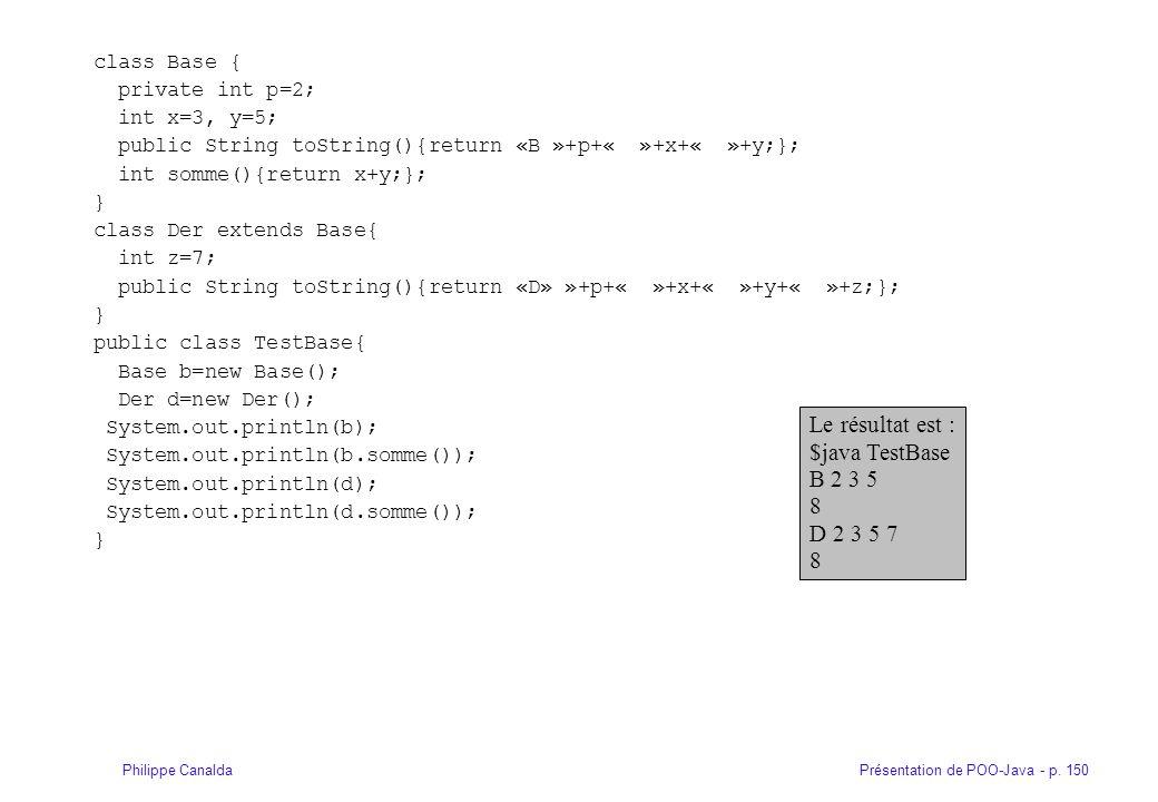 Présentation de POO-Java - p. 150Philippe Canalda class Base { private int p=2; int x=3, y=5; public String toString(){return «B »+p+« »+x+« »+y;}; in