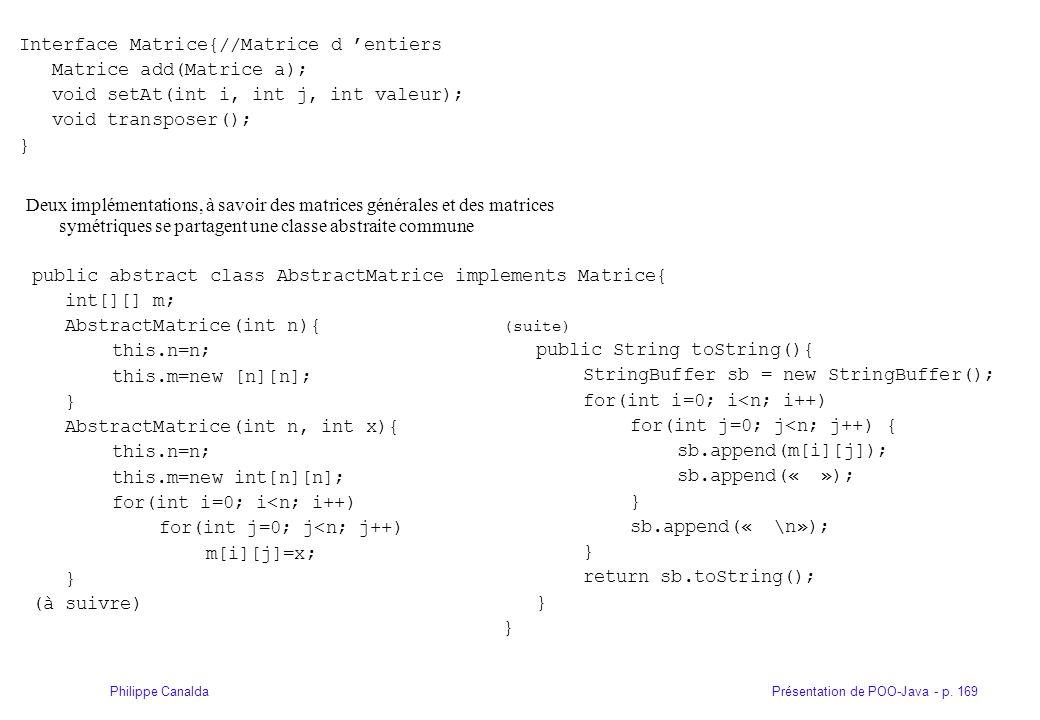 Présentation de POO-Java - p. 169Philippe Canalda Interface Matrice{//Matrice d entiers Matrice add(Matrice a); void setAt(int i, int j, int valeur);