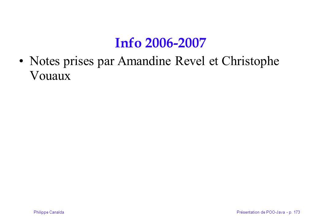 Présentation de POO-Java - p. 173Philippe Canalda Info 2006-2007 Notes prises par Amandine Revel et Christophe Vouaux
