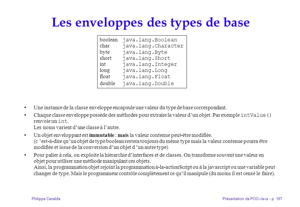 Présentation de POO-Java - p. 197Philippe Canalda Les enveloppes des types de base Une instance de la classe enveloppe encapsule une valeur du type de