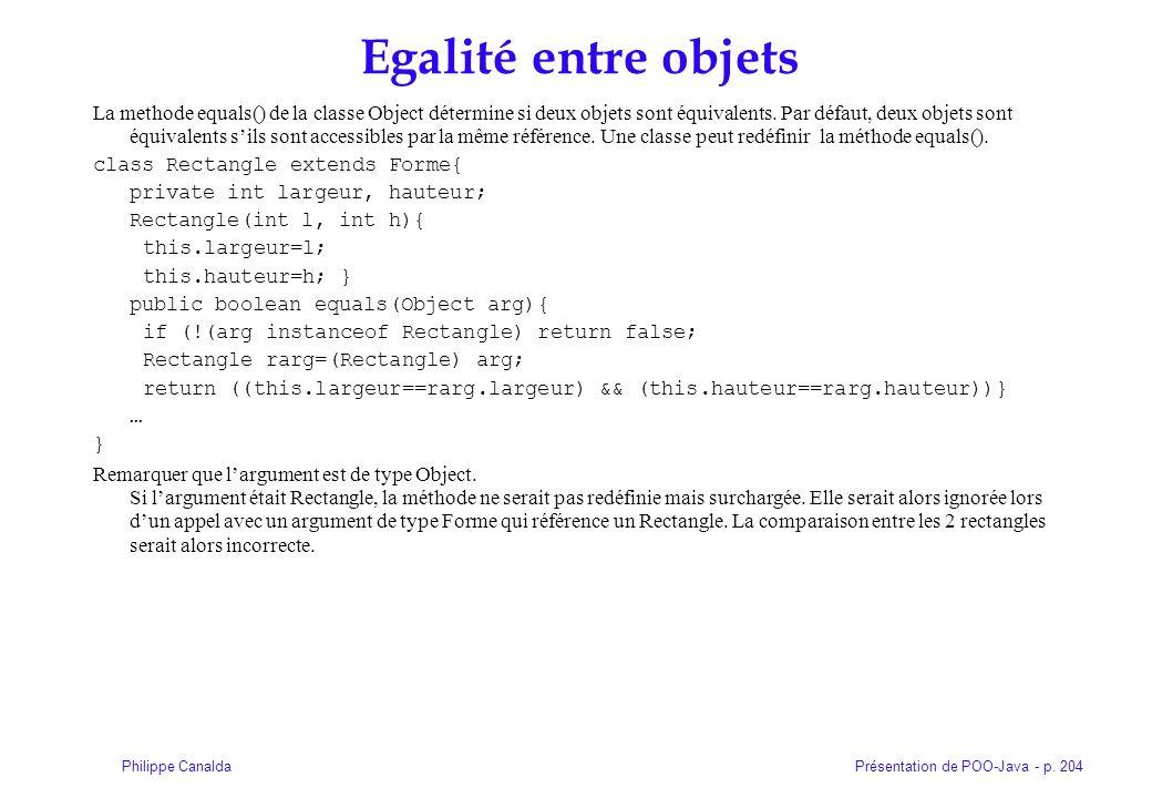 Présentation de POO-Java - p. 204Philippe Canalda Egalité entre objets La methode equals() de la classe Object détermine si deux objets sont équivalen