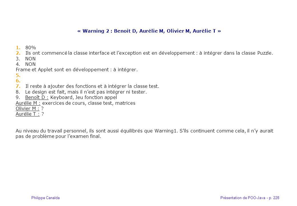 Présentation de POO-Java - p. 228Philippe Canalda « Warning 2 : Benoit D, Aurélie M, Olivier M, Aurélie T » 1. 80% 2. Ils ont commencé la classe inter