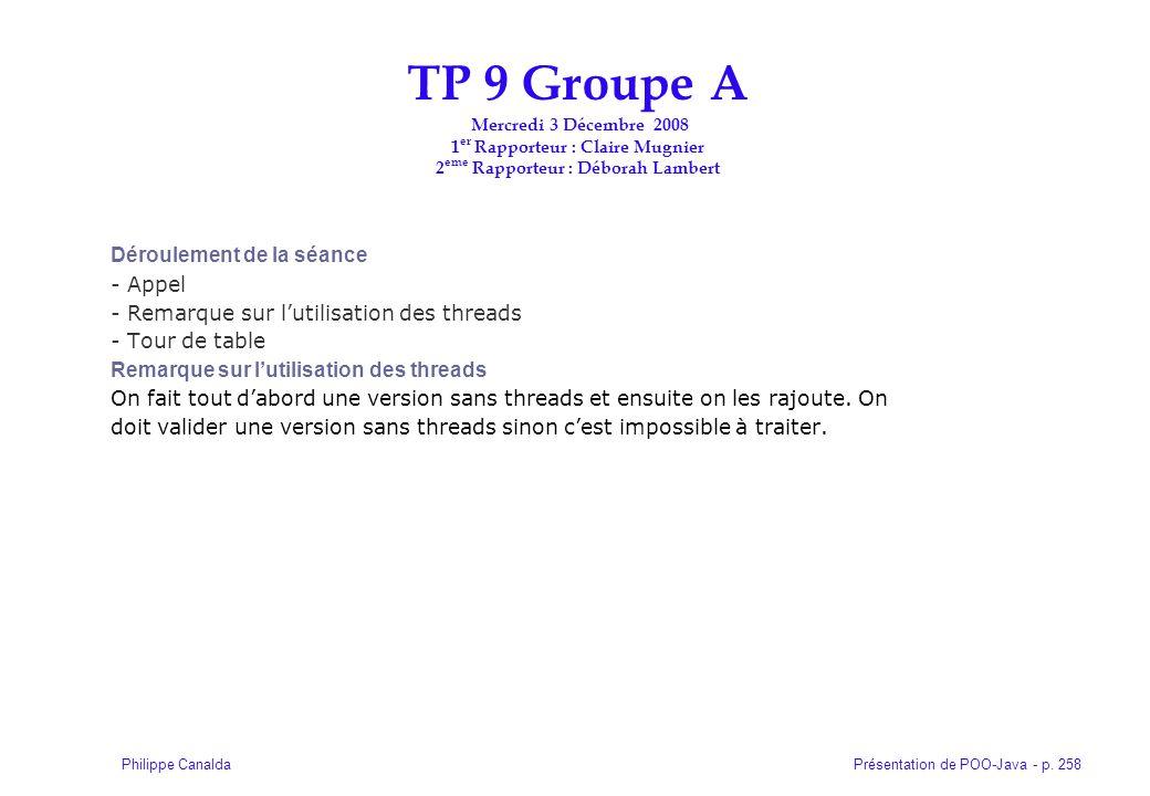 Présentation de POO-Java - p. 258Philippe Canalda Déroulement de la séance - Appel - Remarque sur lutilisation des threads - Tour de table Remarque su
