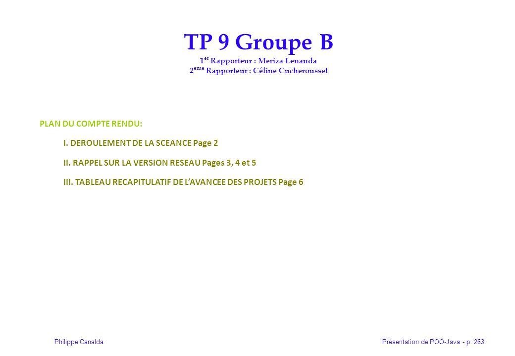 Présentation de POO-Java - p. 263Philippe Canalda TP 9 Groupe B 1 er Rapporteur : Meriza Lenanda 2 eme Rapporteur : Céline Cucherousset PLAN DU COMPTE