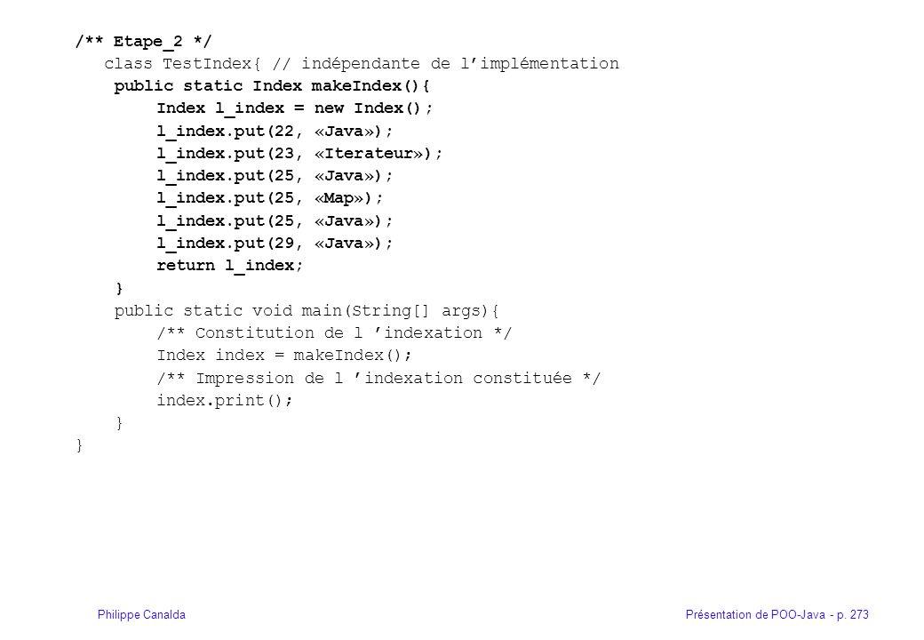Présentation de POO-Java - p. 273Philippe Canalda /** Etape_2 */ class TestIndex{ // indépendante de limplémentation public static Index makeIndex(){