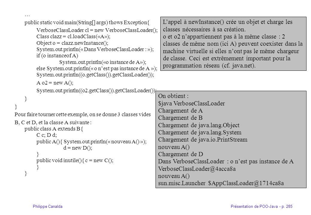 Présentation de POO-Java - p. 285Philippe Canalda … public static void main(String[] args) thows Exception{ VerboseClassLoader cl = new VerboseClassLo