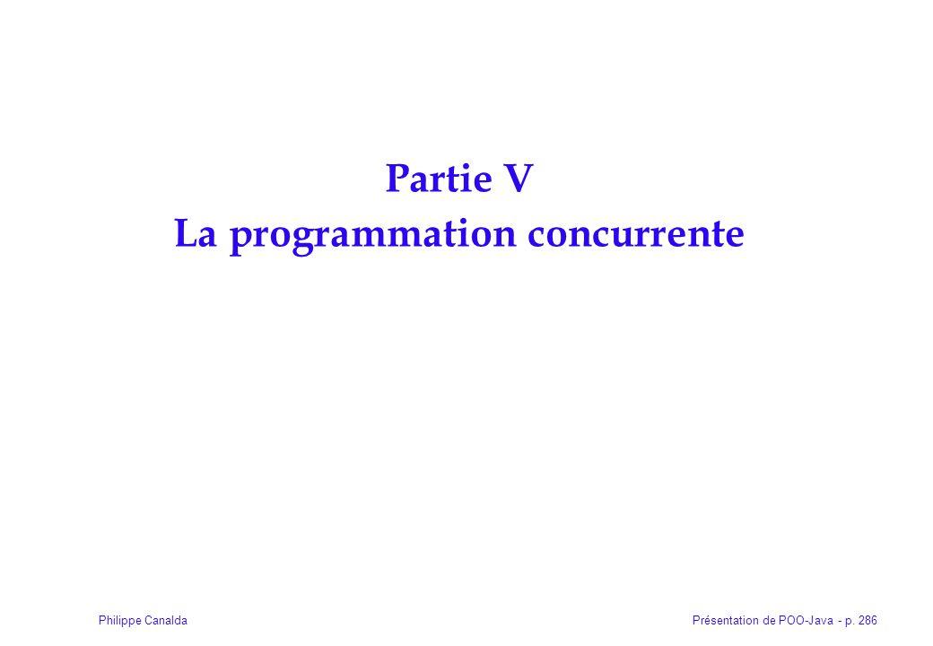 Présentation de POO-Java - p. 286Philippe Canalda Partie V La programmation concurrente