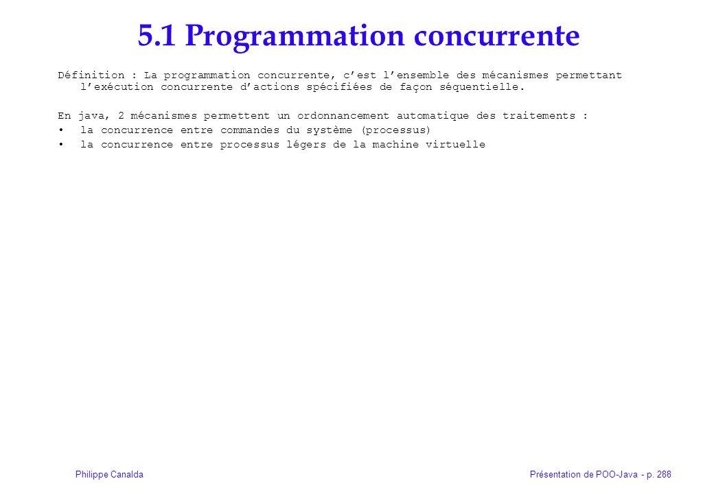 Présentation de POO-Java - p. 288Philippe Canalda 5.1 Programmation concurrente Définition : La programmation concurrente, cest lensemble des mécanism