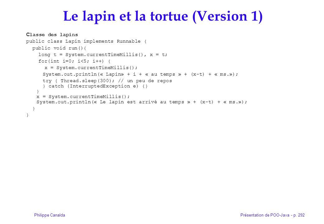 Présentation de POO-Java - p. 292Philippe Canalda Le lapin et la tortue (Version 1) C lasse des lapins public class Lapin implements Runnable { public