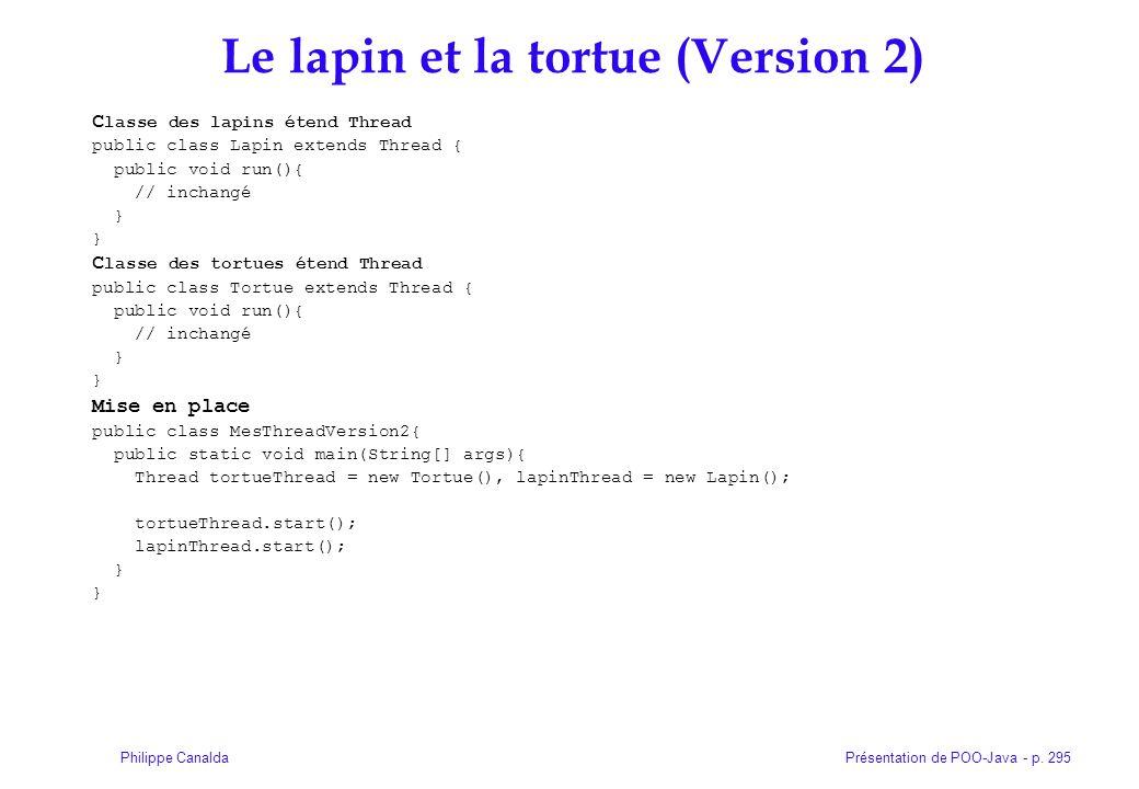 Présentation de POO-Java - p. 295Philippe Canalda Le lapin et la tortue (Version 2) C lasse des lapins étend Thread public class Lapin extends Thread