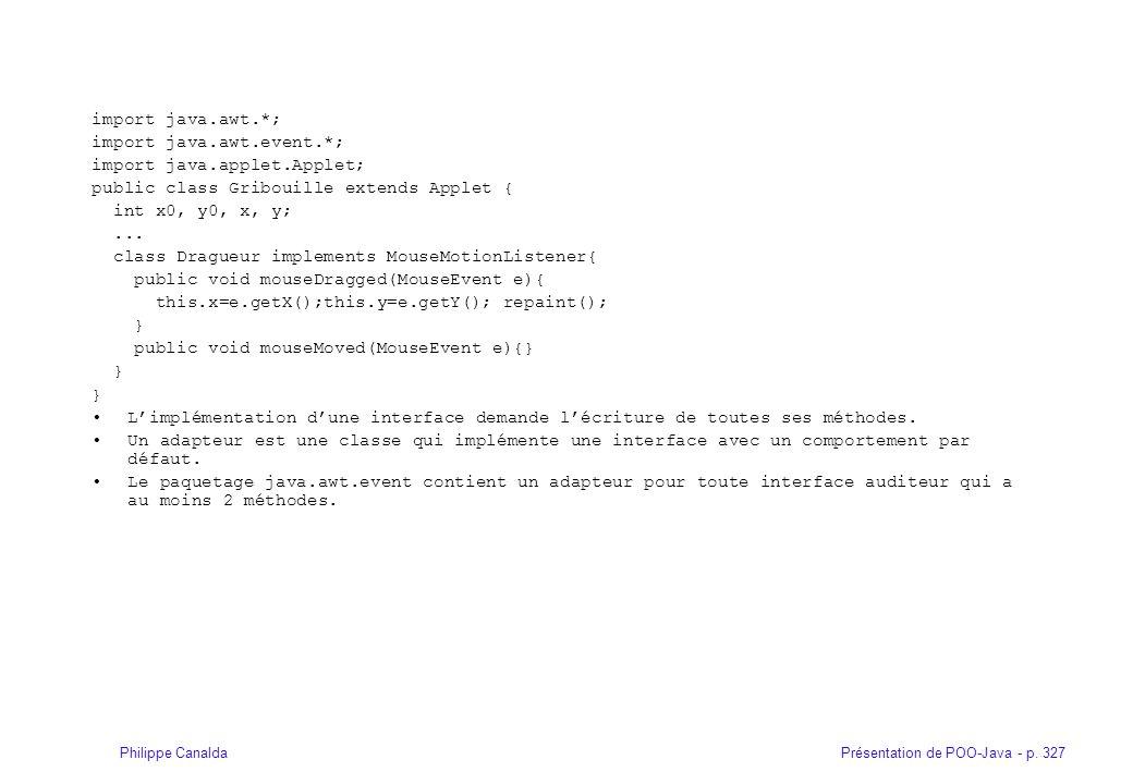 Présentation de POO-Java - p. 327Philippe Canalda import java.awt.*; import java.awt.event.*; import java.applet.Applet; public class Gribouille exten