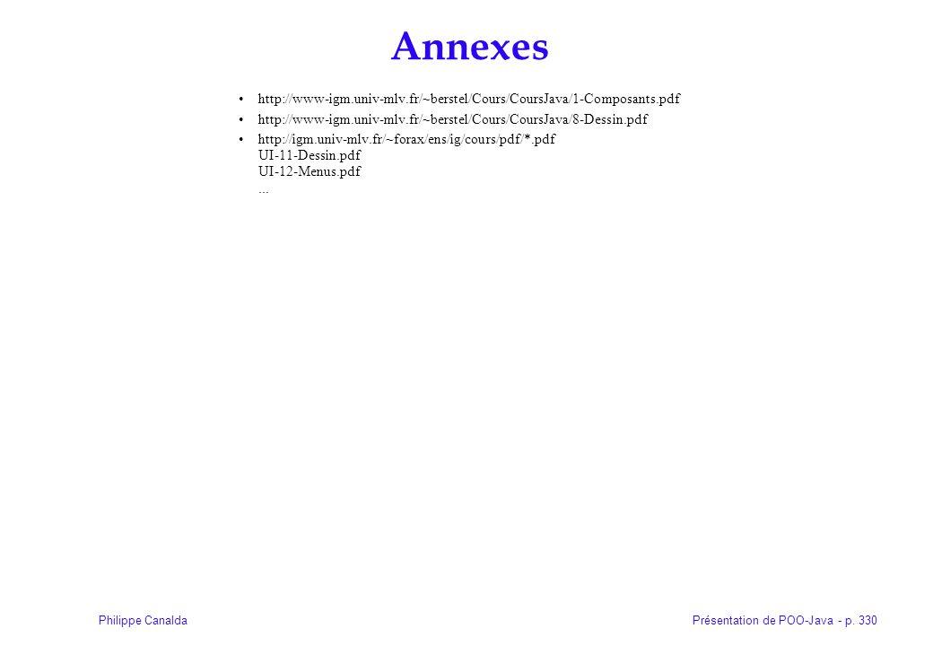 Présentation de POO-Java - p. 330Philippe Canalda Annexes http://www-igm.univ-mlv.fr/~berstel/Cours/CoursJava/1-Composants.pdf http://www-igm.univ-mlv