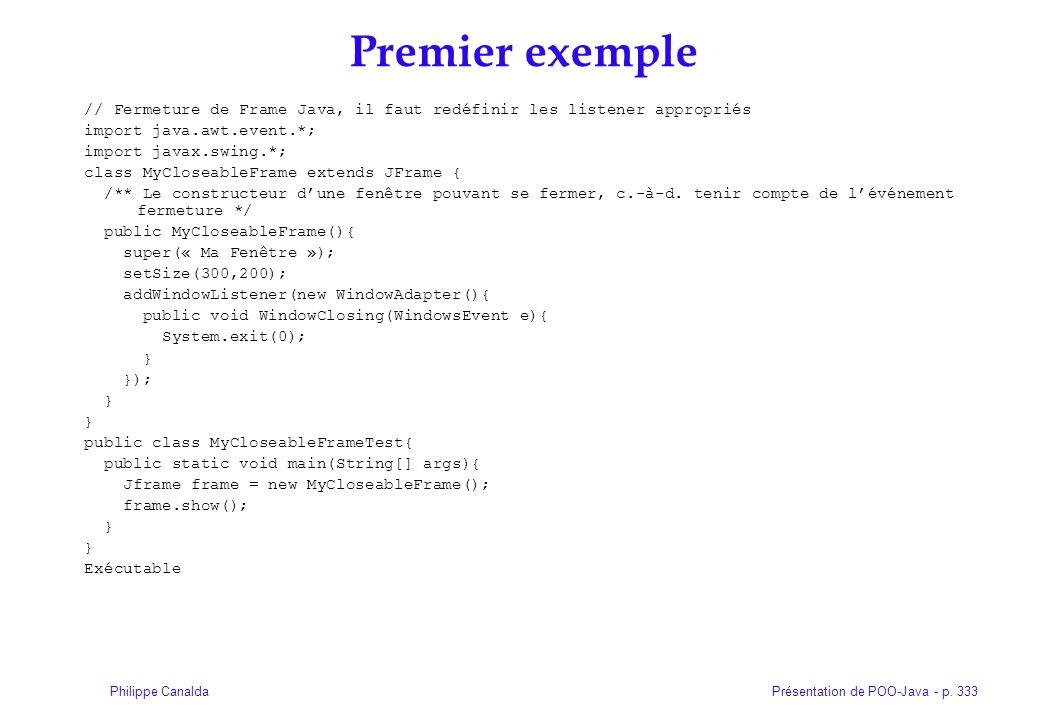 Présentation de POO-Java - p. 333Philippe Canalda Premier exemple // Fermeture de Frame Java, il faut redéfinir les listener appropriés import java.aw