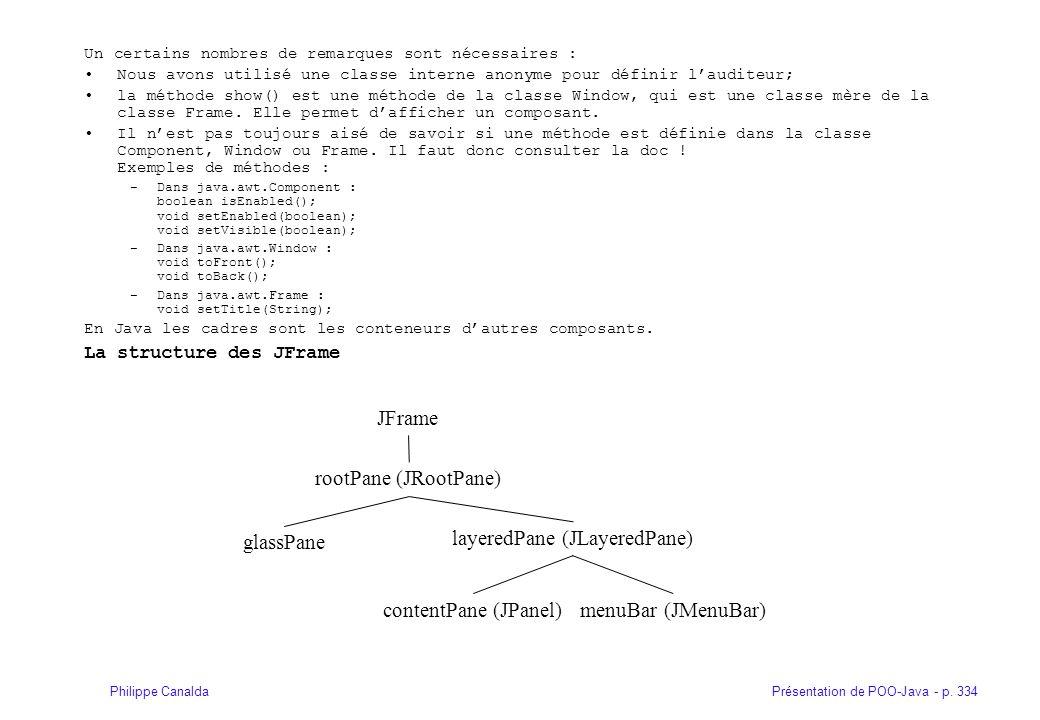 Présentation de POO-Java - p. 334Philippe Canalda Un certains nombres de remarques sont nécessaires : Nous avons utilisé une classe interne anonyme po