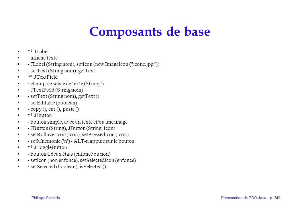 Présentation de POO-Java - p. 349Philippe Canalda Composants de base ** JLabel - affiche texte - JLabel (String nom), setIcon (new ImageIcon (